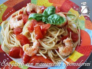 Spaghetti con mazzancolle e pomodorini