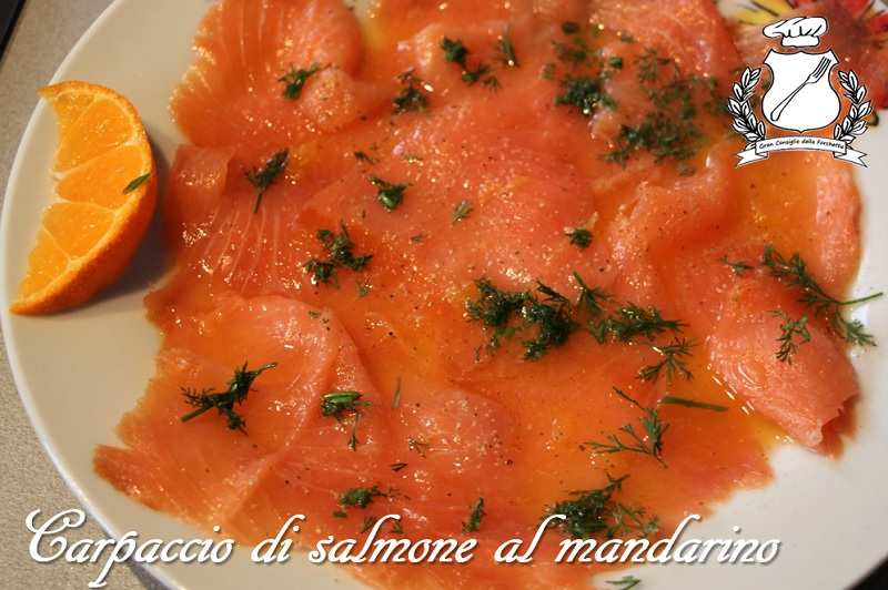 carpaccio di salmone al mandarino