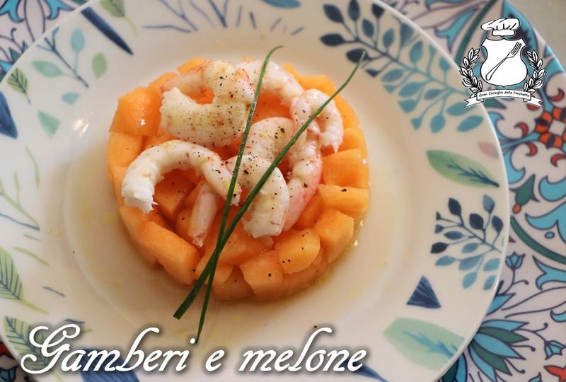 Gamberi e melone