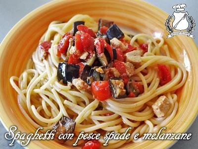 spaghetti con pesce spada e melanzane m