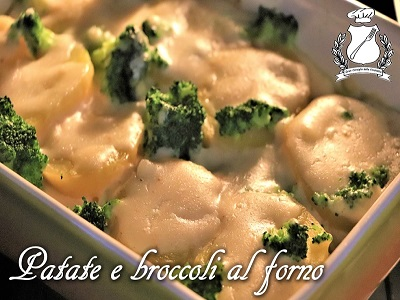 Patate e broccoli al forno m