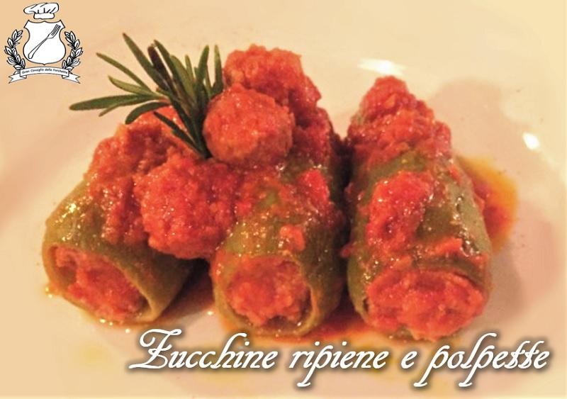 Zucchine ripiene e polpette alla bolognese