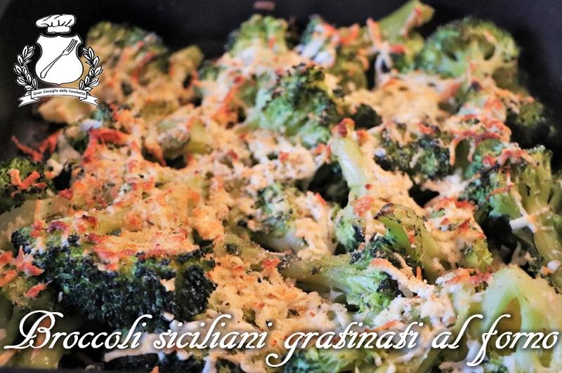 Broccoli siciliani gratinati al forno con formaggio