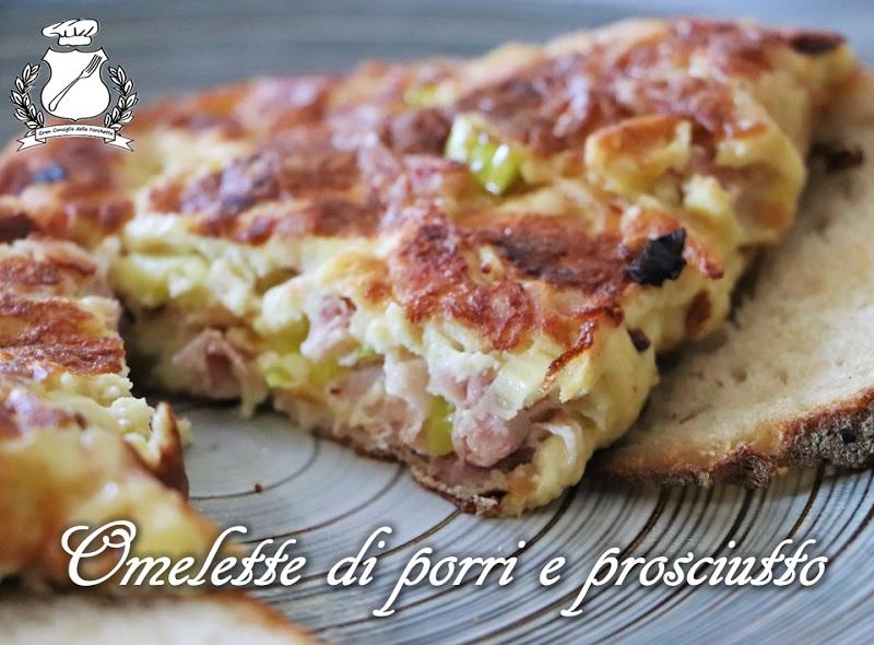 Omelette di porri e prosciutto cotto