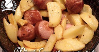 wurstel arrosto con patate